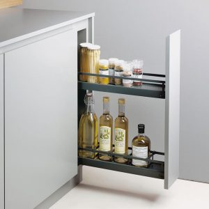 Kitchen Storage Ideas - Narrow retractable shelves