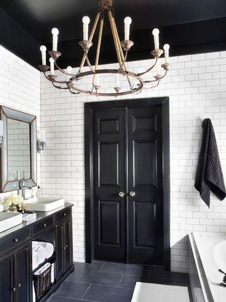 Peinture Blanc Brillant Mur Et Plafond décorer avec du noir | versa style design