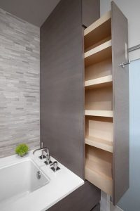 Sliding recessed shelves