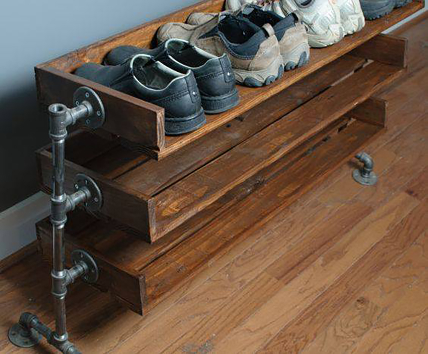 Industrial style recycled wood shelves