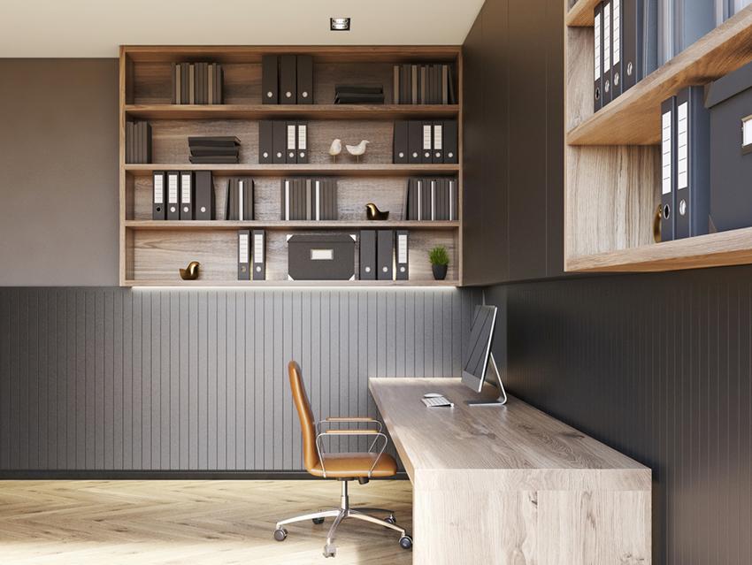 Design de sous-sol avec un bureau à domicile