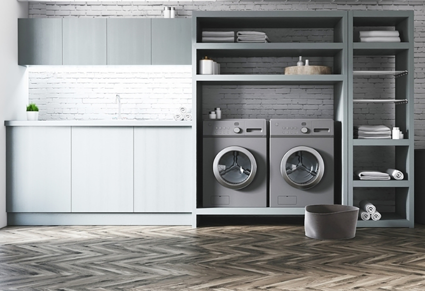 Basement Design with a Laundry Room