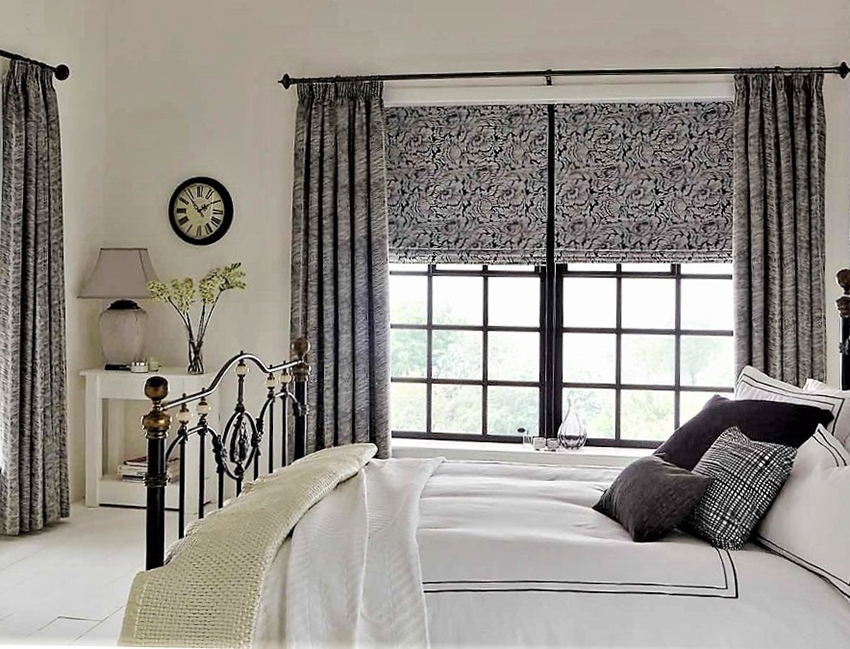 Curtains with roman blinds
