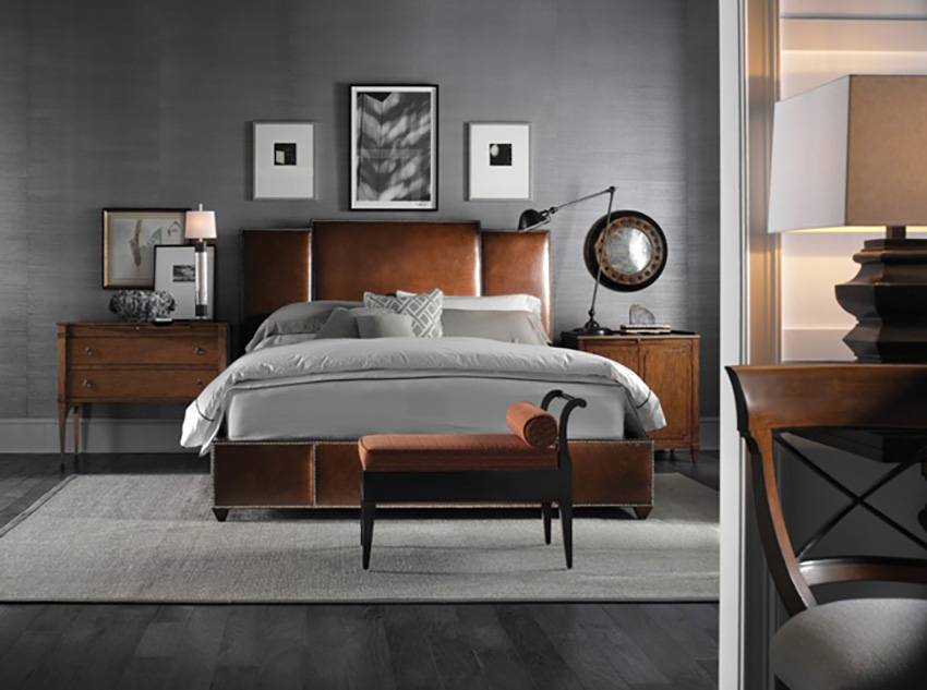Grey with wood furniture and floors