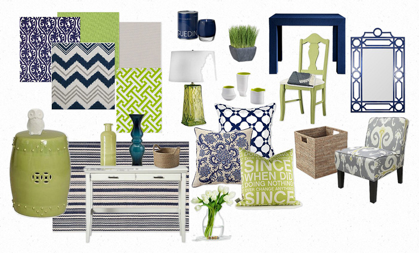 Crisp navy, white and green