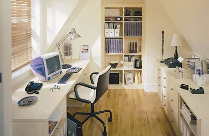 A home office in the attic or basement