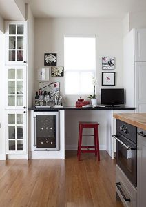 A home office in the kitchen