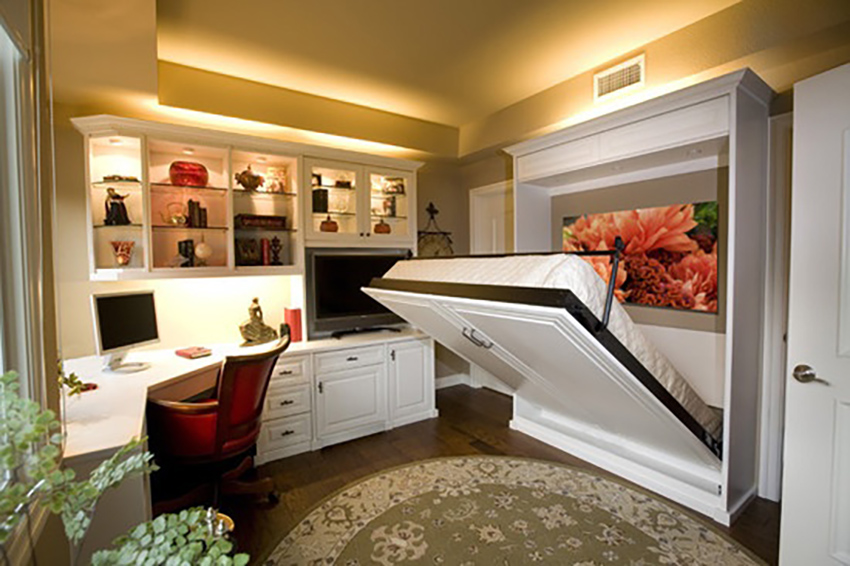 A home office in the guest room