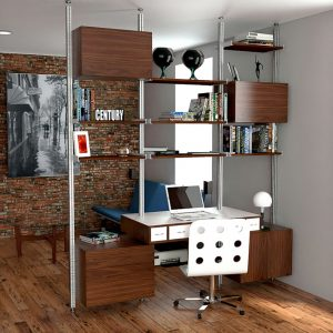 A home office in the living or family room