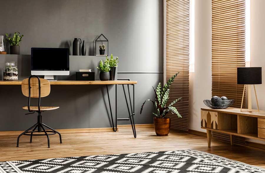 Design de salons avec un bureau à domicile