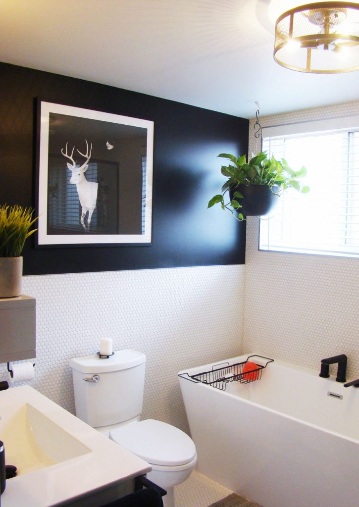 modern black and white lacquer wood vanity
