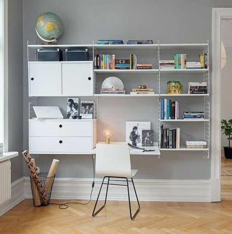 A home office in the hallway
